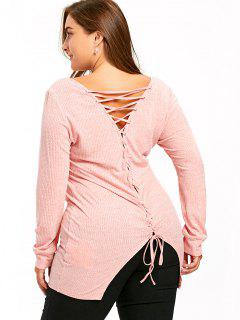Plus Size Long Sleeve Lace Up Knitwear - Pink 5xl