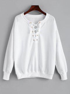 Sweat-shirt à Lacets Simple - Blanc S