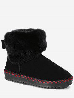 Bowknot Polka Dot Snow Boots - Black 36