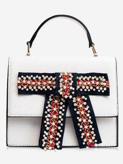 Faux Pearl Bowknot Handbag - White