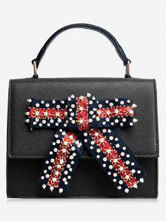 Faux Pearl Bowknot Handbag - Black