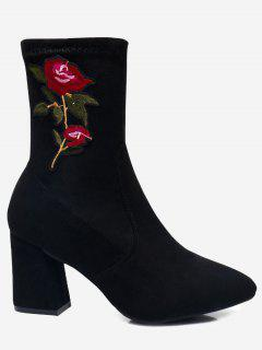 Point Toe Flower Embroidery Mid Calf Boots - Black 35