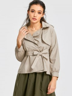 Cuff Sleeve Belted Short Trench Coat - Khaki S