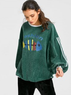 Fishbone Print Drop Shoulder Corduroy Sweatshirt - Army Green