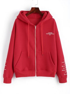 Zip Up Letter Embroidered Hoodie - Red