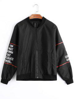 Letter Zip Up Bomber Jacket - Black L