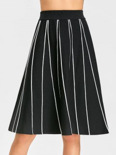 High Waist Knitted A Line Skirt - Black