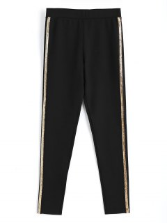 Skinny Sequined Pencil Pants - Black M