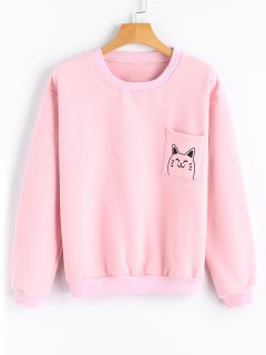 Loose Cute Cat Sweatshirt With Pocket - Pink