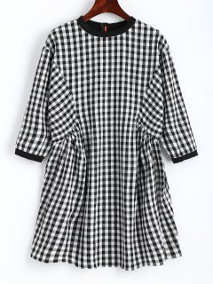 Back Zip Checked Shift Mini Dress - Checked L