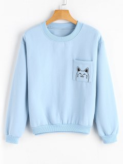 Loose Cute Cat Sweatshirt With Pocket - Light Blue
