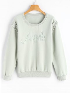 Ruffles Letter Embroidered Sweatshirt - Light Green