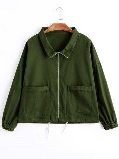 Drawstring Hem Zip Up Denim Jacket - Army Green