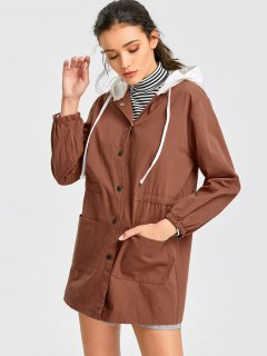 Button Up Hooded Utility Jacket - Brown