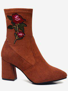 Point Toe Flower Embroidery Mid Calf Boots - Chocolate 34