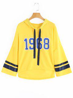 Ribbons Trim Number High Low Hoodie - Yellow
