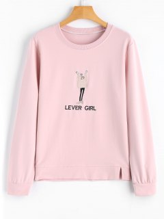 Cartoon Lever Girl Embroidered Sweatshirt - Pink