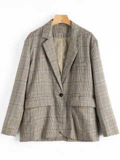 One-button Plaid Blazer - Checked L