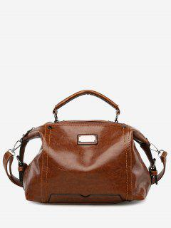 Multi Function Studs Stitching Handbag - Brown