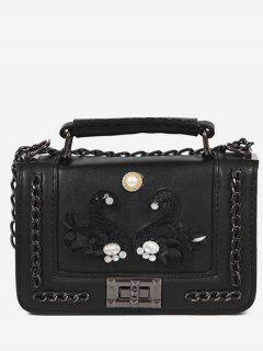 Rhinestone Swan Faux Pearl Handbag - Black