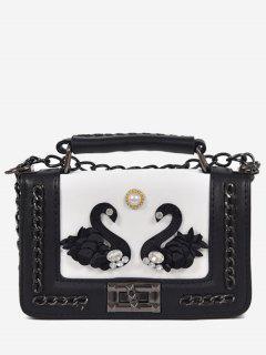 Rhinestone Swan Faux Pearl Handbag - White