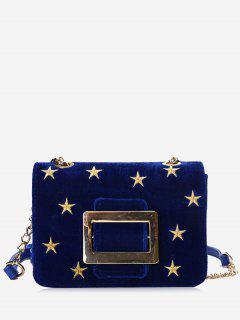 Buckle Strap Stars Crossbody Bag - Blue