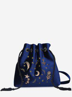 Patchwork Embroidery String Crossbody Bag - Blue