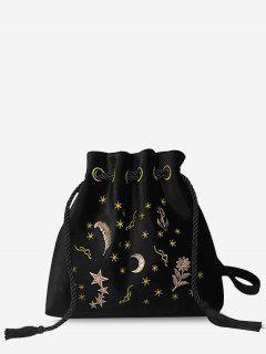 Patchwork Embroidery String Crossbody Bag - Black
