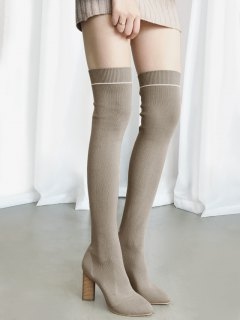 Pointed Toe Knitted Over The Knee Boots - Apricot 37