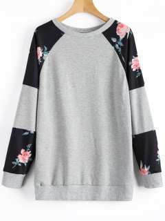 Floral Tunic Sweatshirt - Gray S