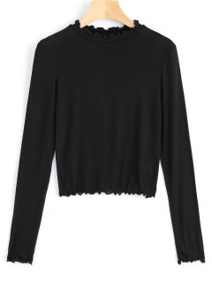 Long Sleeve Piped Layering Top - Black M
