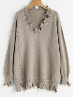 V Neck Plain Ripped Sweater - Light Camel