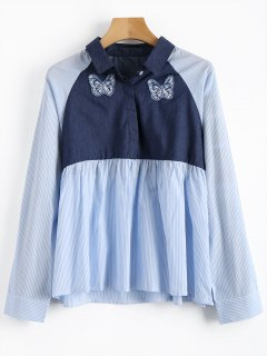 Chambray Panel Striped Shirt - Blue And White M