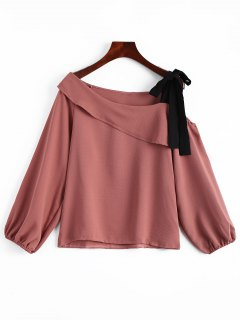 Cutout Tied Long Sleeve Top - Russet-red L