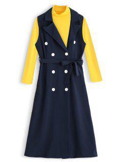 Turtleneck Tee And Sleeveless Belted Dress Set - Deep Blue M