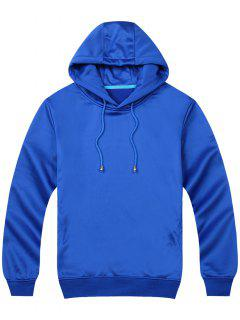 Pullover Side Pockets Hoodie - Blue M