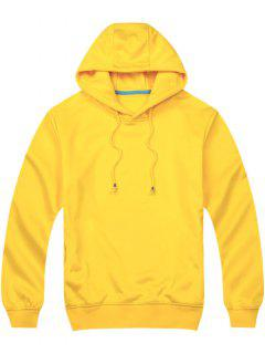 Pullover Side Pockets Hoodie - Yellow M