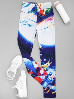 Printed Christmas Leggings - Blue S