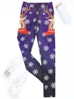 Printed Christmas Leggings - Purple S