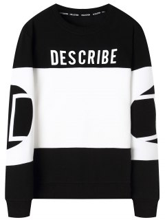 Graphic Describe Color Block Sweatshirt - White And Black 4xl