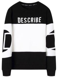 Graphic Describe Color Block Sweatshirt - White And Black 4xl