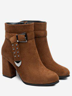 Studded Buckle Strap Point Toe Ankle Boots - Deep Brown 36