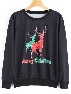 Reindeer Print Christmas Sweatshirt - Black S