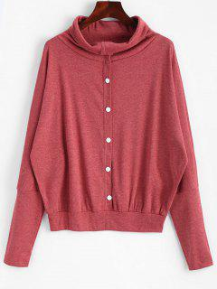 Button Embellished Dolman Sleeve Knitted Top - Brick-red M