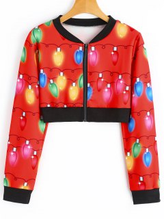 Cropped Printed Christmas Jacket - Red M