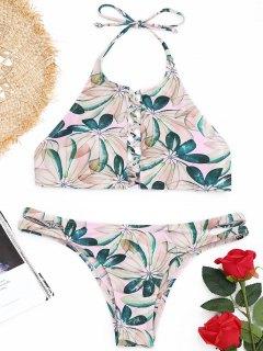 Conjunto De Bikini De Tiras Y Cuello Alto Con Estampado De Hojas - L