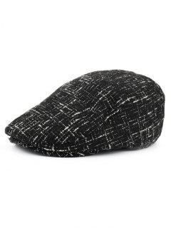 Color Splice Pattern Adjustable Newsboy Hat - Black