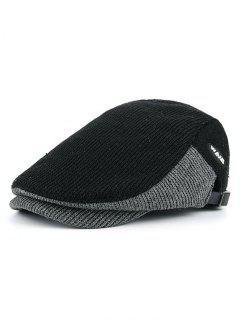 Letter Label Decorated Adjustable Duckbill Hat - Black