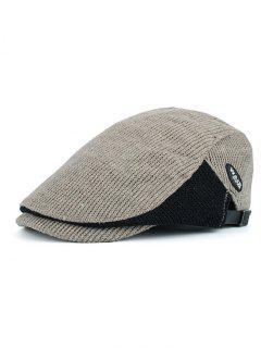 Letter Label Decorated Adjustable Duckbill Hat - Beige