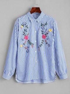 Chemise Haute-Bas Brodée Florale à Boutons - Rayure S